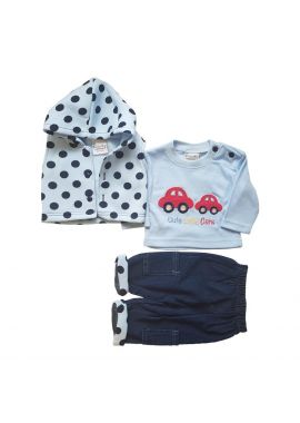 Baby Boys Polka Dots Hooded Cardigan 3pcs set Sizes from 0 to 9 months