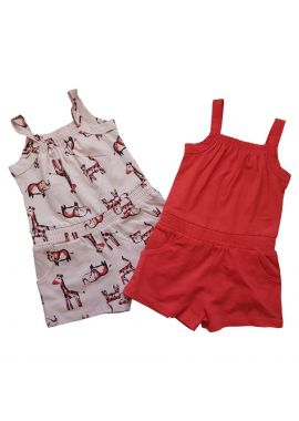 Girls Ex Chain Store 2pc Playsuit Pink and coral with Zoo print Sizes from 1 year to 5/6 years