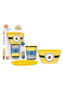 NEW Minions 3 pcs Stacking Meal Set Plate Bowl Cup Despicable Me