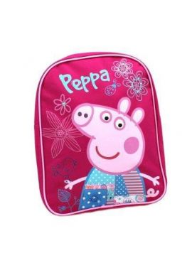 Peppa Pig Flowers Girls Pink Canvas Rucksack with Pink Sequin Detail On The Dress Backpack