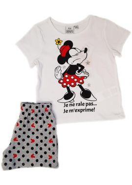 Latest Pink And White minnie Mouse Shortie  Shorts Nightwear For Girls Age 3, 4, 6 And 8 Years
