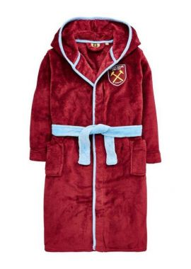 Boys Official West Ham United FC Hooded Fleece Dressing Gown Robes Sizes From 3 To 12 Years