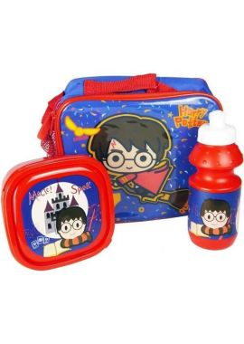 Harry Potter Official 3 Piece Lunch Bag with Sandwich Lunch Box and Water Bottle
