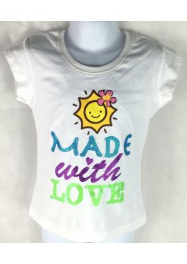 Kids Made With Love Girls White Short Sleeves Cotton Tshirt 98/104/110/116/128 Sizes