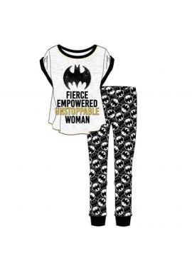 Batman Batgirl Ladies Character PJ Pyjamas T-Shirt Top & Cuffed Lounge Pants