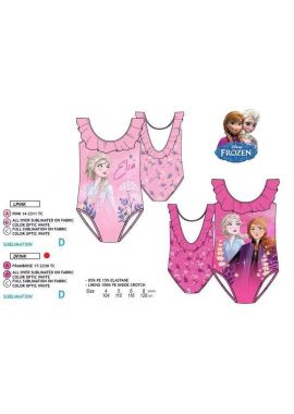 Disney Frozen 2 Girls One Piece Swimming Costume With Disney Princess Anna and Elsa, Pink And Ceries Swimsuit for Kids Age 4-8 Years