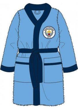 Men Official Manchester City Football Club Fleece Dressing Gown Robe Size Small Medium Large X Large