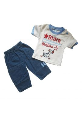 Baby Boys 2pcs Denim Set Sizes from 0 to 9 months
