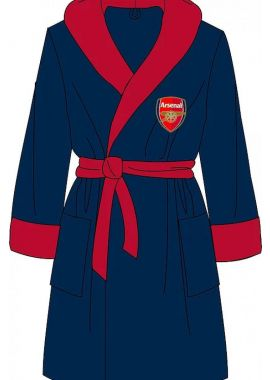 Arsenal AFC Mens Dressing Gown Bathrobe Supersoft Fleece Sizes S M L XL Blue Official