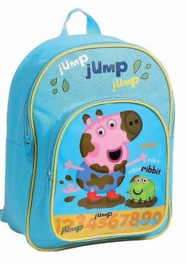 Peppa Pig And Ribbit Frog Numbers With Front Pocket Girls Pink Rucksack Backpack Skyblue