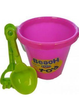 Round Bucket With Scoop And Rake Beach Fun Toy Special For Children Design