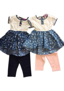Girls Fashionable Printed Denim Top with Legging Age 2 years to 10 years