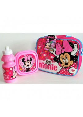 Minnie Mouse Official 3 Piece Lunch Bag with Sandwich Lunch Box and Water Bottle