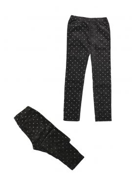 Girls H&M Ex Chainstore Sparkly Gems Black Cotton Leggings Age 4-5 Years