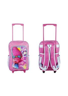 Dreamworks Trolls Children's Trolley Bag - Pink Luggage Bag & Back Pack - With Pull-Out Trolley Handle & Adjustable Straps