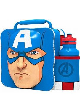 Marvel Captain America 3D Thermal Lunch Bag with Sports Bottle