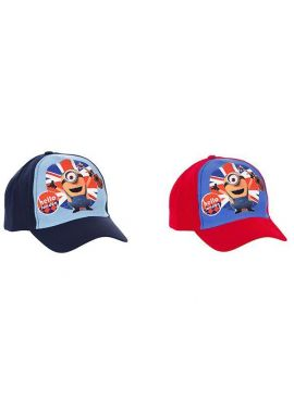 Latest Branded Minions Despicable Me Hello London Boys Children Cap Blue And Red 52, 54 CM