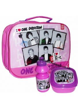 One Direction One Direction Pink 3 Piece Lunch Set - Lunch Bag Bottle and Sandwich Box Set of 3