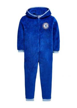 Official Boys Chelsea FC Hooded Fleece Zipper Sleepsuit Romper 3 - 12 Years
