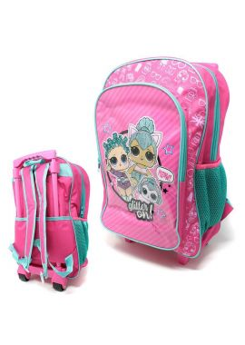 Deluxe 41cm Foldable LOL Surprise Trolley Backpack Childrens Luggage Carry Bag
