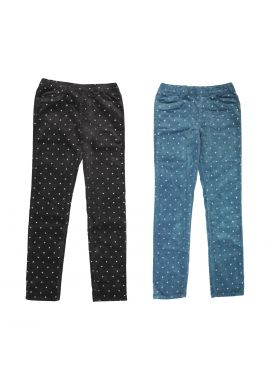 Girls H&M Ex Chainstore Sparkly Gems Blue/Black Cotton Jeggings Age 18 Months-10 Years