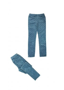 Girls H&M Ex Chainstore Sparkly Gems Blue Cotton Leggings Age 4-5 Years