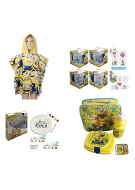 NEW Minions Gift Set Colour Paint your own Mug Plate Minions Hooded Bath Poncho