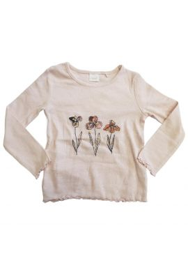 Girls Top with Flower Design Long Sleeves