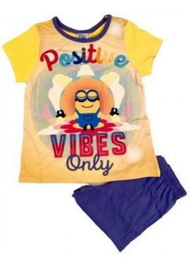 official Girls Minions Short Pyjamas Yellow Pjs Kids Age 3-4, 5-6, 7-8 and 9-10 Years