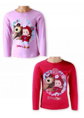 Official Masha And The Bear Girls Long Sleeve T-Shirts Tee Top