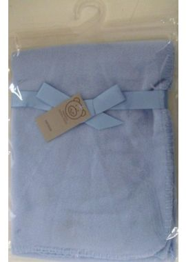 Luxury Super Soft Baby Blanket Blue Plain Design Blue