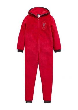 Official Boys Liverpool LFC Hooded Fleece Zipper Sleepsuit Romper 3 - 12 Years