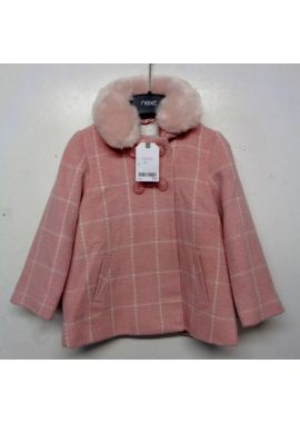 Ex Next Girls Pink Check Fur Wool Lined Smart Winter Coat 2 3 4 5 6 Yrs