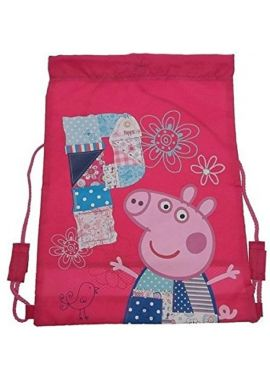 Peppa Pig Beautiful Flowers Embrodry Sports Gym trainer Girls Bag With Adjustable String
