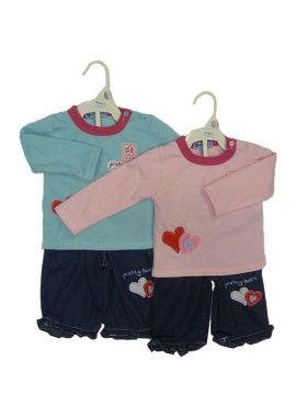 BABY C T-Shirt and Shorts Outfit Set with Love Hearts and Long sleeve