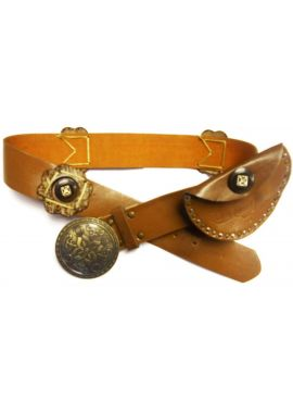 Girls Teenage Belt Pouch & Tan Circle Buckles Flower waist Adjustable Cute Stylish