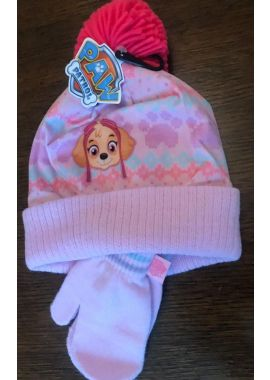 Paw Patrol Winter Beanie Hat And Gloves Age 3 - 6 Yrs Official Licensed Girls Skye