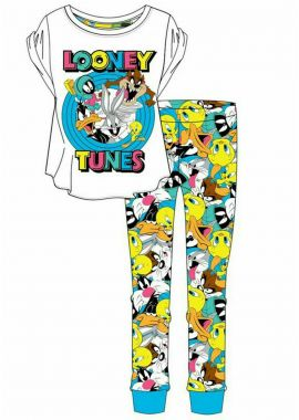 Looney Tunes Ladies Cotton Official Pyjamas Set Women Nightwear Size 8-10, 12-14, 16-18 And 20-22