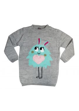 Little Kids Girls Grey Knitted Jumper Age 4-9 Years