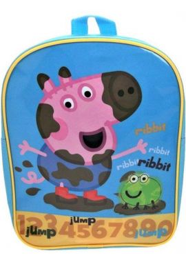 Peppa Pig And Ribbit Frog Numbers School Boys Backpack Skyblue