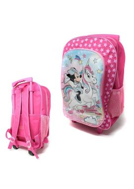 Girls Minnie Unicorn Character Foldable Wheeled Trolley Backpack School Bag Luggage Cabin