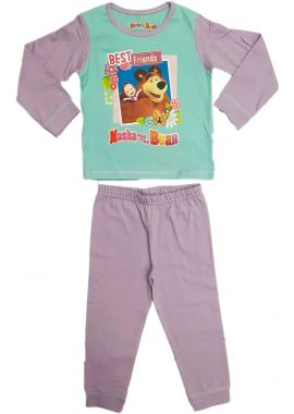 Licenced Girls Masha And The Bear Full Length Pyjamas Pjs Mint/Purple - Best Friends Age 18/24 Months, 2/3, 3/4 And 4/5 Years