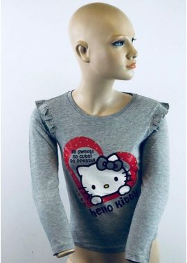 Girls Hello Kitty T-Shirts New Long Sleeved Grey Top Age 3-4,5-6,7-8 and 8-9 Years
