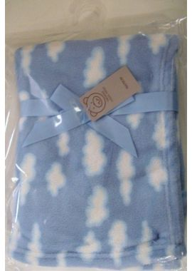 Luxury Super Soft Baby Blue Blanket with Cute Cloud Print Design Blue Gift