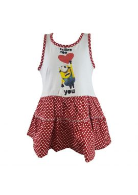 Girls Dress Summer Cotton Sun Despicable Me Minions Polka Sizes 3 to 8 years