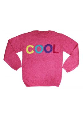 Little Kids 'Cool' Girls Pink Knitted Jumper Age 4-9 Years