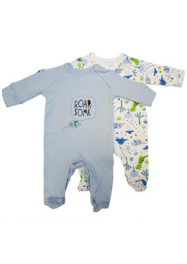 """Baby Boys Sleepsuit with Scratch Mitts 2 pieces """"Roar"""" Blue Dinosaur NEW Gift"""