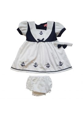 Baby Girls Sailor Boat White Dress Knicker Set Head Band Sizes 6 to 24 months